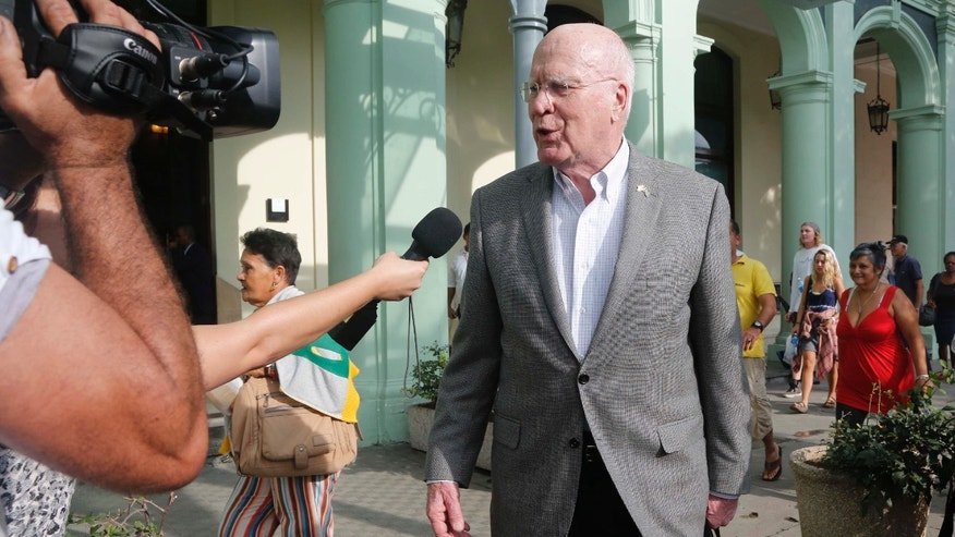 U.S. delegation leader Sen. Patrick Leahy (D-Vt.) talks with reporters as he leaves the Hotel Saratoga, in Havana, Cuba, Saturday, Jan. 17, 2015. Leahy is heading the first congressional delegation visit to Cuba since President Barack Obama restored diplomatic relations in December. (AP Photo/Desmond Boylan)