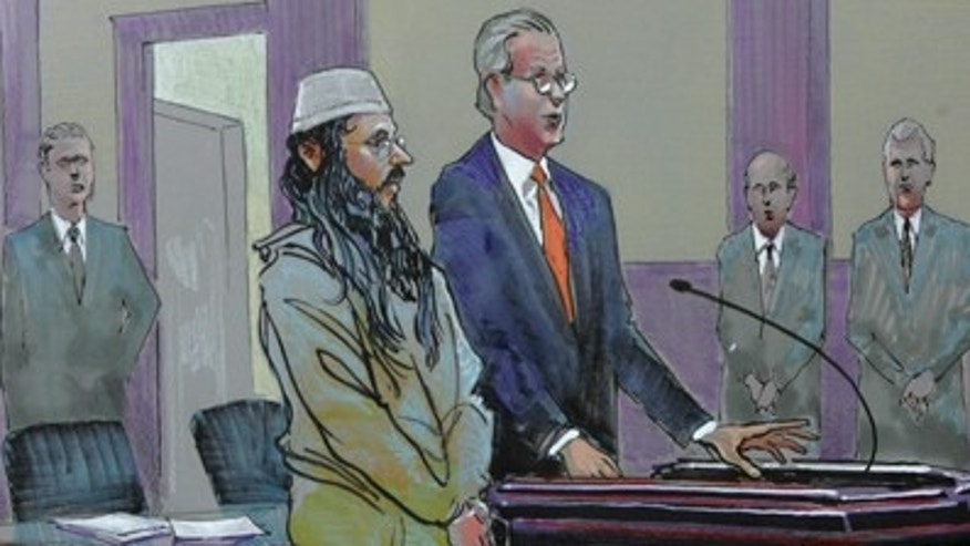 March 10, 2009: This file image of a courtroom drawing from U.S. District Court shows alleged Al Qaeda sleeper agent Ali al-Marri as he made an initial appearance with his attorney Andy Savage in Charleston, S.C. to face terror charges for the first time after being held for more than five years as an enemy combatant. (AP)