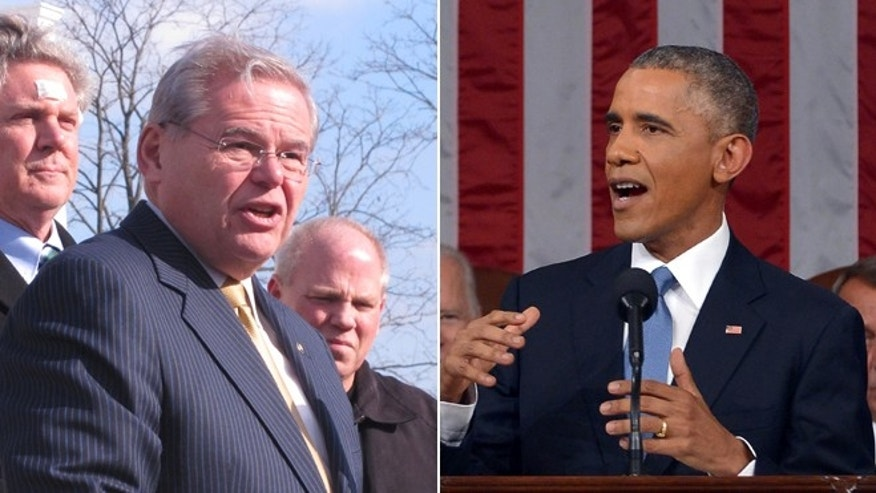This Friday, Jan. 16, 2015 photo shows U.S. Sen. Robert Menendez at a news conference in Union Beach, N.J. and in this Tuesday, Jan. 20, 2015 photo, President Barack Obama delivers his State of the Union address to a joint session of Congress on Capitol Hill in Washington.