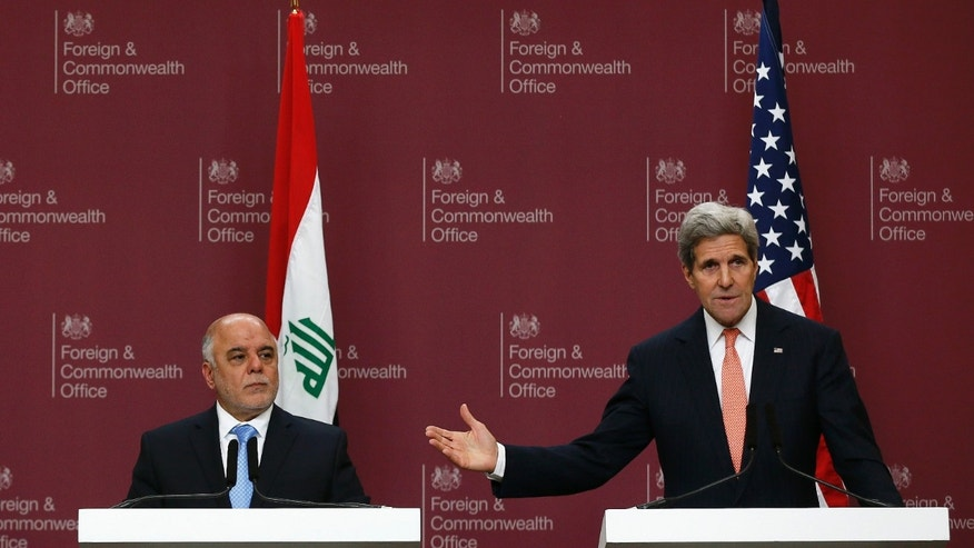 Jan. 22, 2015: Iraq's Prime Minister Haider al-Abadi, left, and U.S. Secretary of State John Kerry attend a press conference at the Foreign and Commonwealth Office in London.