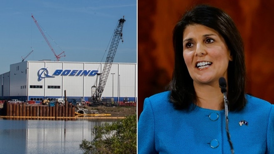 This Dec. 19, 2013 file photo shows the entrance to Boeing in North Charleston, S.C., and in this Wednesday, Jan. 21, 2015 photo South Carolina Gov. Nikki Haley delivers her State of the State address to the joint session of the legislature at the Statehouse in Columbia, S.C.