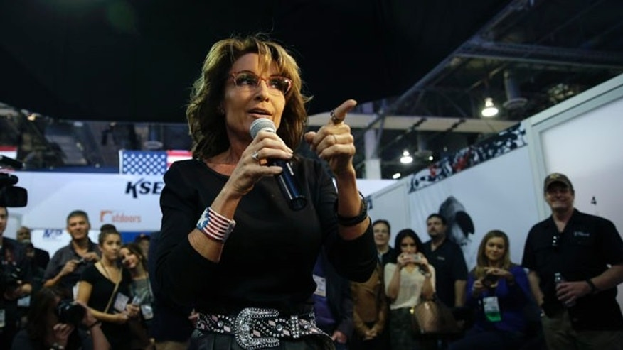 Jan. 22, 2015: Former Alaska Gov. Sarah Palin speaks at the Shooting, Hunting and Outdoor Trade Show, in Las Vegas, Nevada.