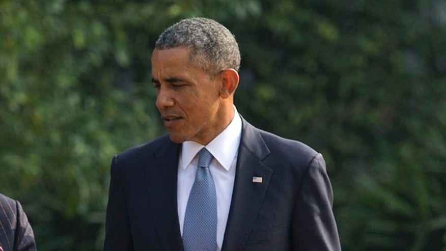 Jan. 25, 2015: President Obama in the gardens of the Hyderabad House in, New Delhi, India.