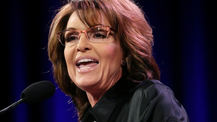Jan. 24, 2015: Former Alaska Gov. Sarah Palin speaks during the Freedom Summit in Des Moines, Iowa. (AP)