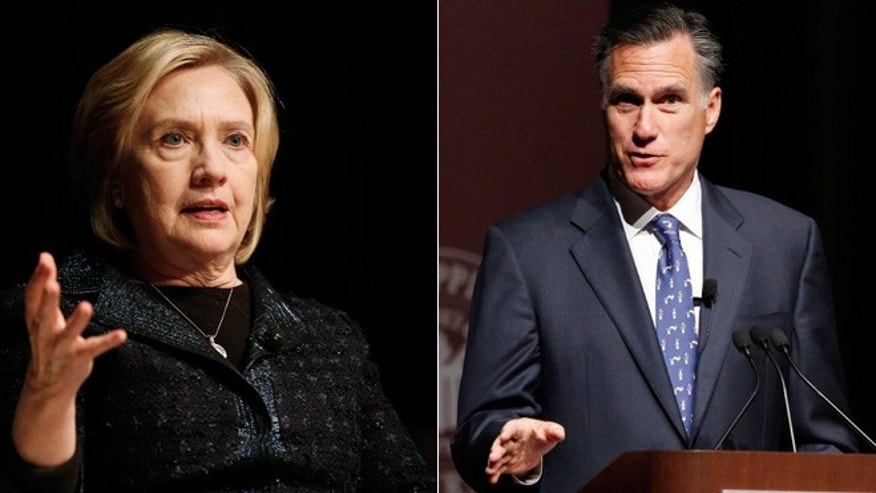 Shown above: Former Secretary of State Hillary Clinton (left) and former Massachusetts Governor Mitt Romney (right).