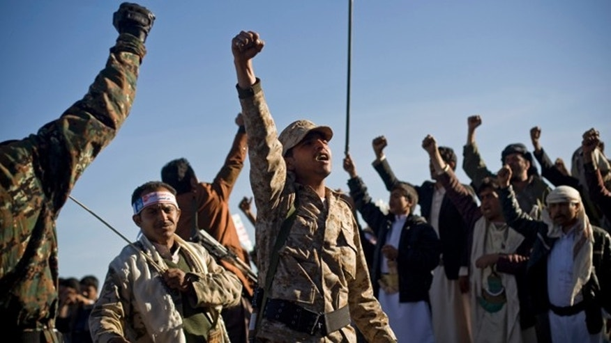 Jan. 28, 2015: Houthi Shiite Yemenis chant slogans during a rally to show support for their comrades in Sanaa. (AP Photo/Hani Mohammed)