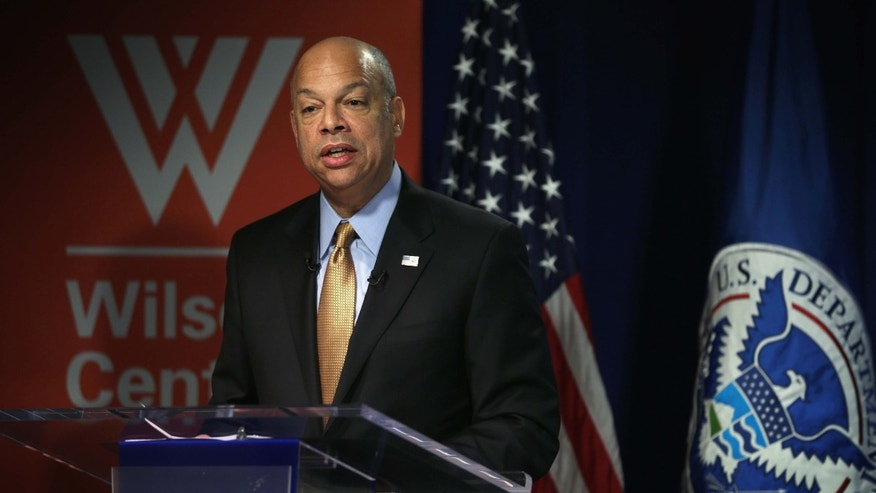 "WASHINGTON, DC - JANUARY 29:  U.S. Homeland Security Secretary Jeh Johnson speaks at The Woodrow Wilson Center January 29, 2015 in Washington, DC. Secretary Johnson gave his annual ""The State of Homeland Security"" address at the WWC.  (Photo by Alex Wong/Getty Images)"