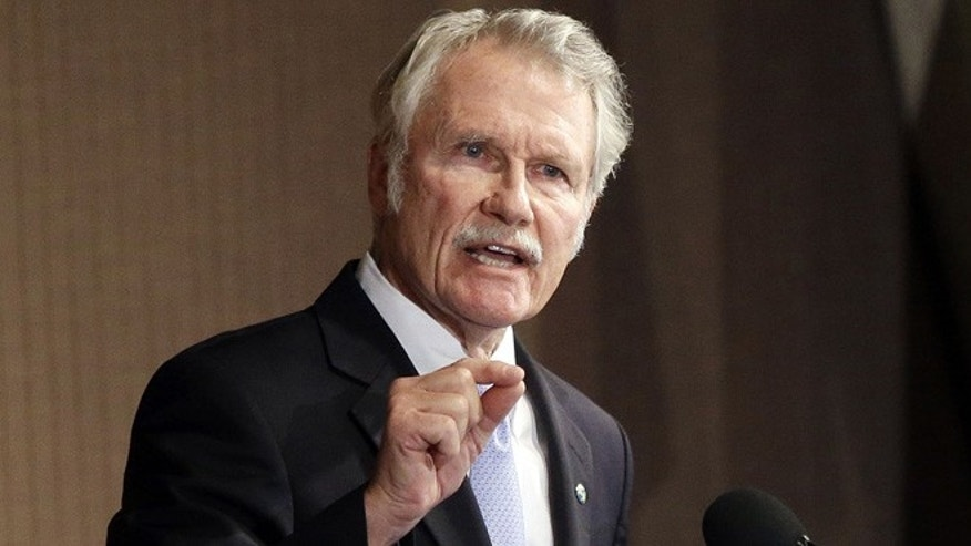 Oct. 10, 2014, file photo, Oregon Gov. John Kitzhaber speaks during a gubernatorial debate in Portland, Ore.
