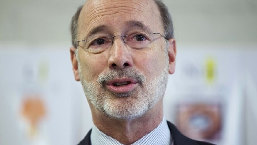Feb. 11, 2015: Gov. Tom Wolf speaks during a news conference at Elementary School  n Thorndale, Pa. (AP)