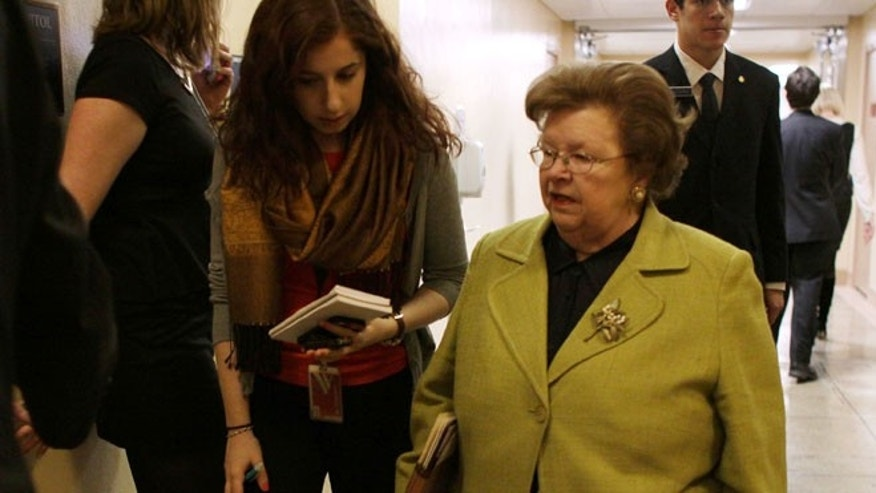 FILE: February 25, 2015: Sen. Barbara Mikulski, D-Md., talks with a reporter on Capitol Hill, Washington, D.C.
