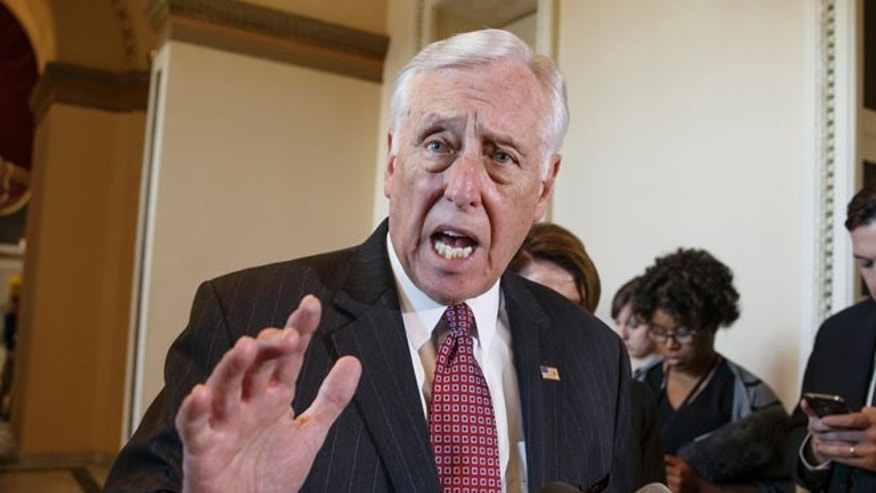 FILE: Feb. 27, 2015, House Minority Whip Steny Hoyer, D-Md. speaks on Capitol Hill in Washington.