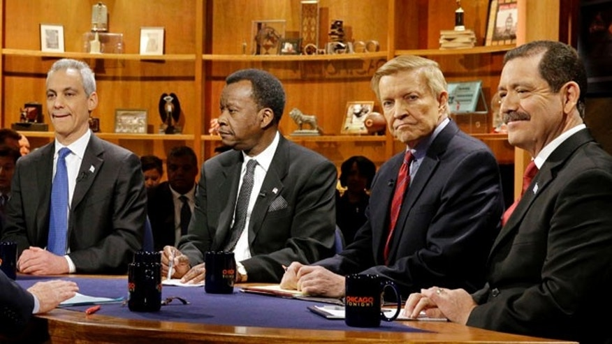 FILE: Feb. 4, 2015:  from left, Chicago Mayor Rahm Emanuel, businessman Willie Wilson, Alderman Bob Fioretti, Cook County Commissioner Jesus Garcia in Chicago, Ill.