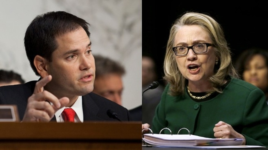 Left: Sen. Marco Rubio (R-FL) questions a witnesses during a Senate Foreign Relations Committee hearing on the attacks on the U.S. Consulate in Benghazi, December 20, 2012. (Photo by Drew Angerer/Getty Images) Right: Then-Secretary of State Hillary Rodham Clinton testifies on Capitol Hill on Jan. 23, 2013, the attack on the U.S. diplomatic mission in Benghazi, Libya. (AP Photo/Pablo Martinez Monsivais, File)