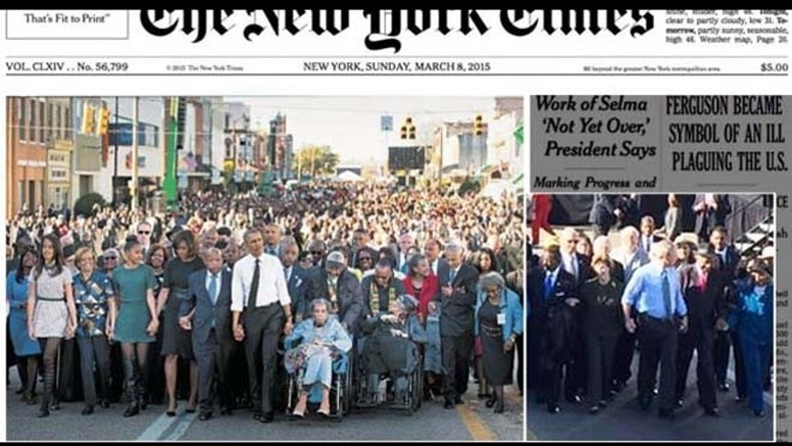 WHAT YOU DIDN'T SEE: Shown at left is the front-page image on Sunday's New York Times of the anniversary march in Selma, Ala. At right is an AP photo showing former President George W. Bush and his wife Laura, not shown in the NYT photo.