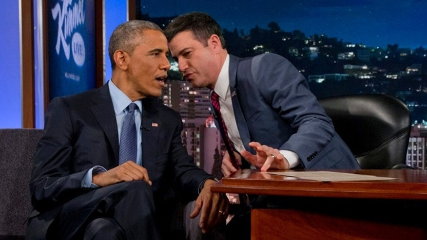 March 12, 2015: President Barack Obama talks with Jimmy Kimmel during a break in taping on 'Jimmy Kimmel Live'. (AP Photo/Jacquelyn Martin)
