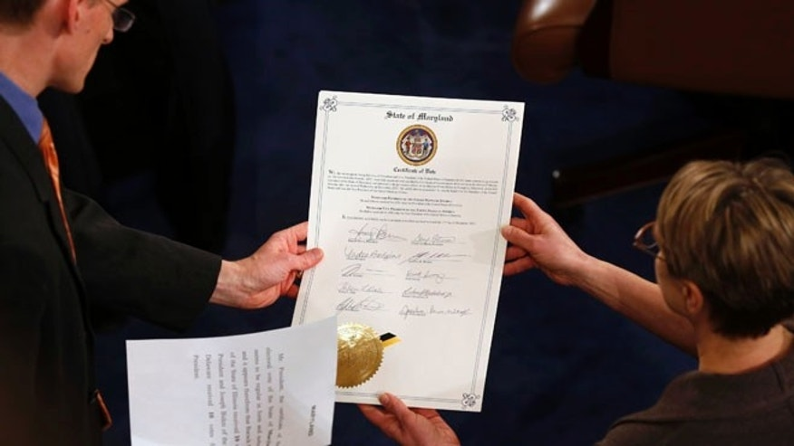 FILE: Jan. 4, 2013: The vote certificate for Maryland presented at a congressional session to certify the electoral college results that deemed President Obama to be president, Washington, D.C.