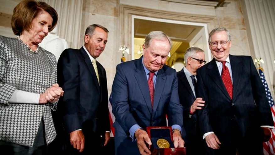March 24, 2015: Retired golf pro Jack Nicklaus, center, on Capitol Hill, in Washington. D.C., with, from left Reps. Nancy Pelosi and John Boehner and Senators Harry Reid and Mitch McConnell.