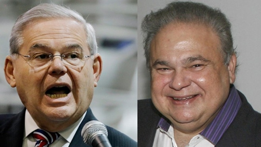 Left: U.S. Sen. Robert Menendez, D-NJ, answers a questions as he addresses a gathering Monday, March 23, 2015, in Garwood, N.J. Right: Salomon Melgen. (Photos: Left, AP Photo/Mel Evans; Right, Associated Press)
