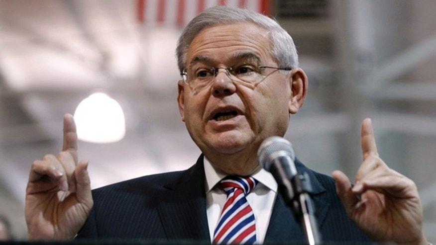 Sen. Robert Menendez, D-NJ speaks in Garwood, N.J.,on March 23, 2015.