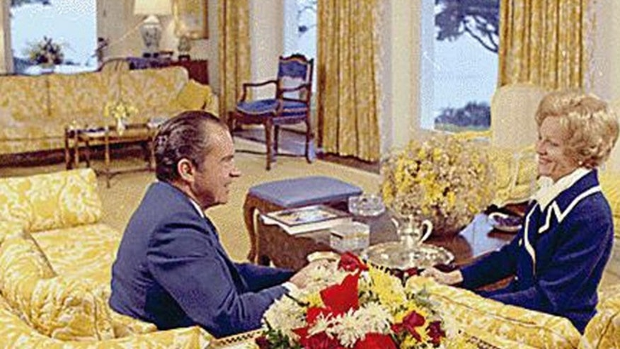 President and Mrs. Nixon are seen sitting in the living room of their San Clemente, Calif. home on January 13, 1971.