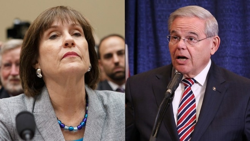 Shown here are former IRS official Lois Lerner, left, and Sen. Bob Menendez, D-N.J.