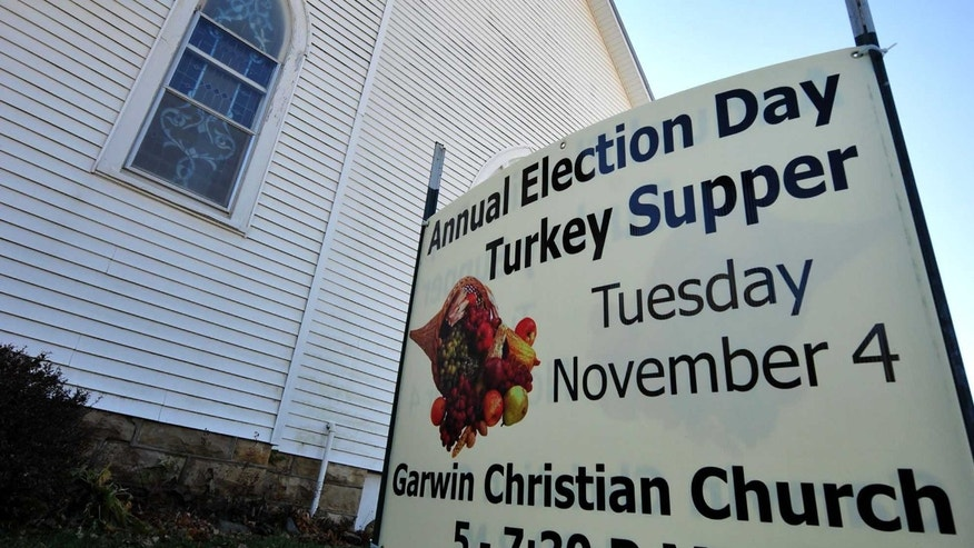 GARWIN, IA - NOVEMBER 4:   The Garwin Christian Church stands ready for their Annual Election Day Turkey Supper, November 4, 2014 in Garwin, Iowa. The church supper has been a tradition in Garwin for over 100 years.  The Mid-term election in Iowa pits Democratic Senate Candidate Bruce Braley against Republican Senate Candidate Joni Ernst in a dead heat race to replace U.S. Sen. Tom Harkin (D-IA) who is retiring this year after serving Iowans since 1985. (Photo by Steve Pope/Getty Images)