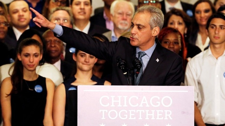 April 7, 2015: Chicago Mayor Rahm Emanuel points as he speaks on election night at Plumbers Local 130 Union Hall.