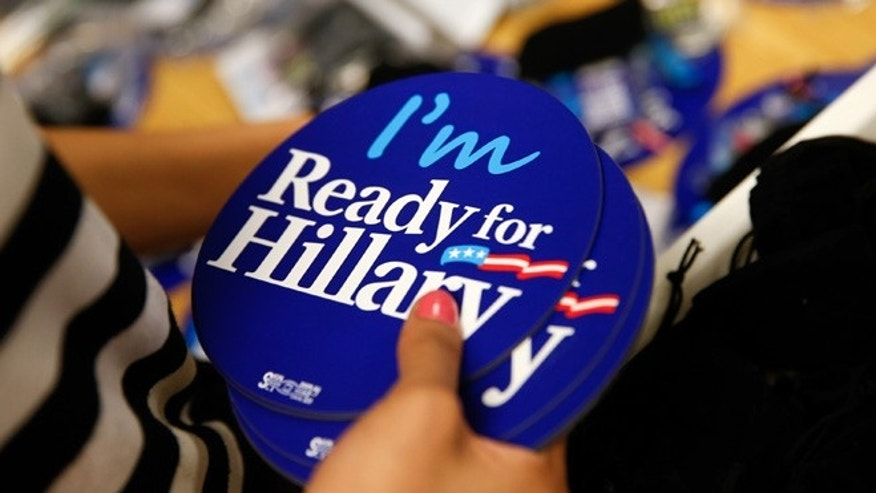 April 3, 2015: Ready for Hillary apparel and accessories are packed up at the Ready for Hillary super PAC store in Arlington, Va.