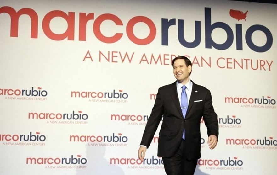 Florida Sen. Marco Rubio only represented 48 states -- and 263 electoral votes -- in his logo.