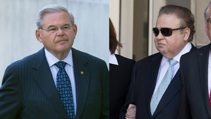 Left: U.S. Sen. Bob Menendez arrives at federal court, Thursday, April 2, 2015, in Newark, N.J. Right: Salomon Melgen leaves federal court, Thursday, April 2, 2015, in Newark, N.J. A federal grand jury indictment accuses Menendez of using the power of his Senate seat to benefit Melgen, a wealthy Florida eye doctor who prosecutors say provided the senator with luxury vacations, airline travel, golf trips and tens of thousands of dollars in contributions to a legal defense fund. (Photos: AP Photo/John Minchillo)