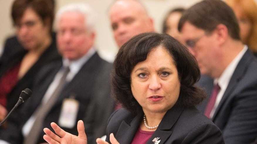 FILE: April 12, 2013: Drug Enforcement Administration Administrator Michele Leonhart testifies on Capitol Hill in Washington, D.C.