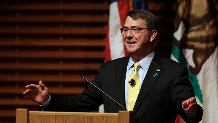 April 23, 2015: Defense Secretary Ash Carter gestures during a speech in Stanford, Calif.