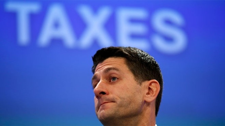 FILE: Dec. 02, 2014: Wisconsin GOP Rep. Paul Ryan, now House Ways and Means Committee chairman, at a Wall Street Journal meeting on taxes, in Washington, D.C.