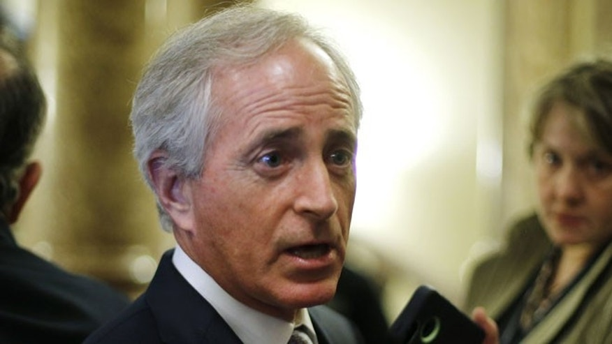 FILE: Jan. 7, 2015: Sen. Bob Corker, R-Tenn., speaks with reporters at the U.S. Capitol, in Washington, D.C.