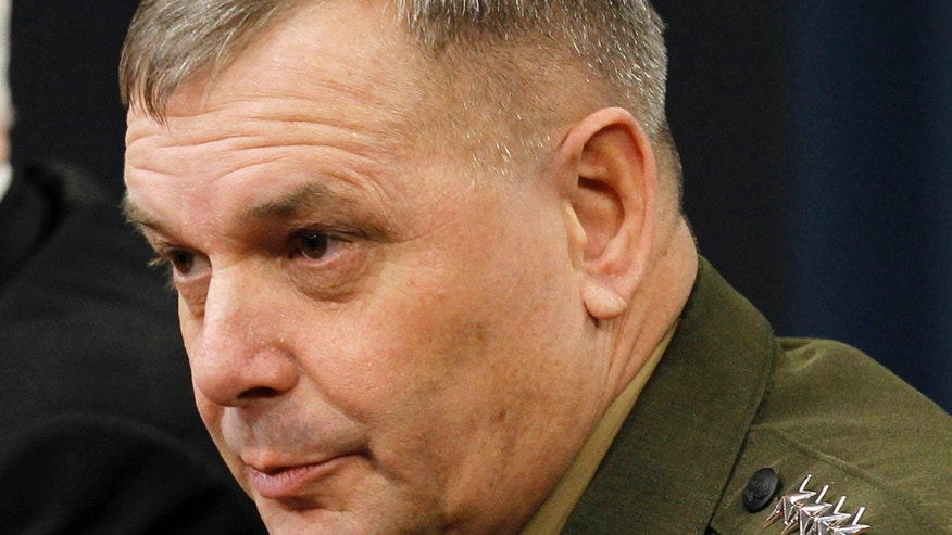 April 21, 2011: Gen. James Cartwright takes part in a news conference at the Pentagon.