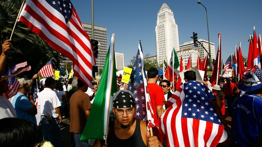 Demonstrators near City Hall from in Los Angeles, California.