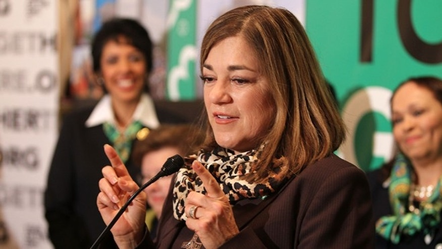 WASHINGTON, DC - FEBRUARY 01:  Rep. Loretta Sanchez (D-CA) shares remarks at Girl Scouts At 100: The Launch of ToGetHerThere at Capitol Hill Cannon House Office Bldg, Caucus Room on February 1, 2012 in Washington, DC.  (Photo by Paul Morigi/Getty Images for Girl Scouts of America)