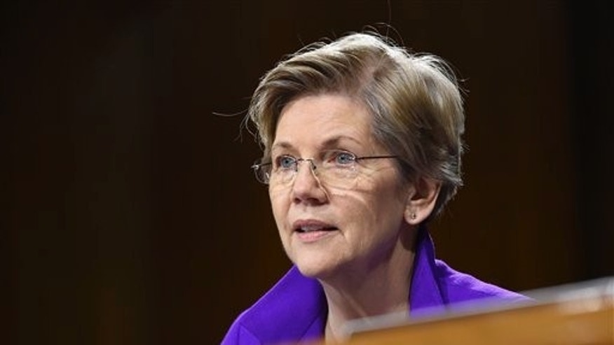 FILE - In this Feb. 24, 2015, file photo, Sen. Elizabeth Warren, D-Mass., is seen on Capitol Hill in Washington. (AP Photo/Susan Walsh, File)