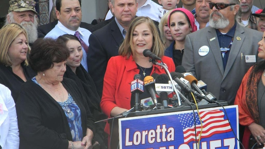 Rep. Loretta Sanchez announces her bid for the U.S. Senate, Thursday, May 14, 2015.