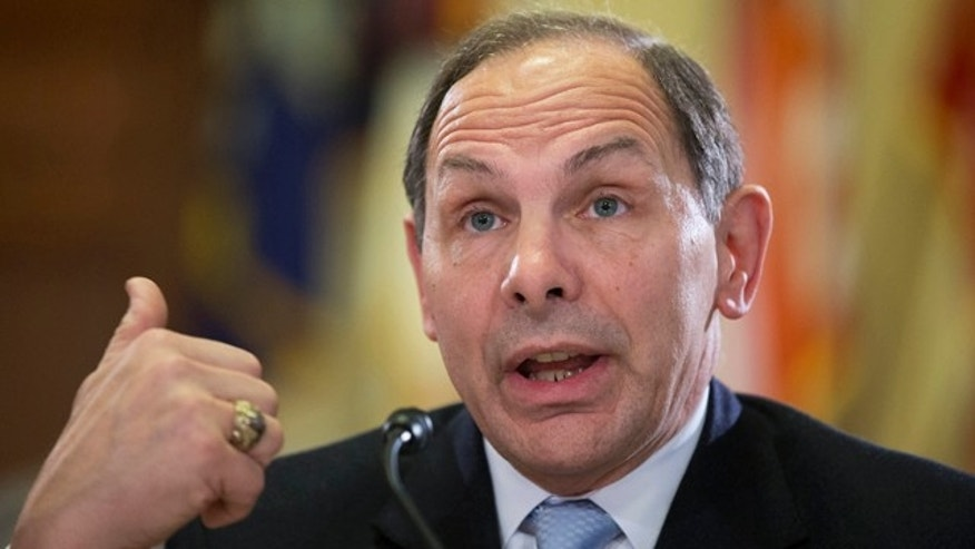 FILE - In this Feb. 11, 2015 file photo, Veterans Affairs Secretary Robert McDonald testifies on Capitol Hill in Washington. (AP Photo/Manuel Balce Ceneta, File)