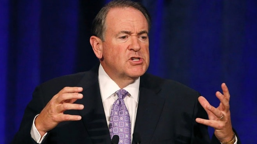 May 15, 2015:Republican presidential candidate and former Arkansas Gov. Mike Huckabee speaks in Scottsdale, Ariz.