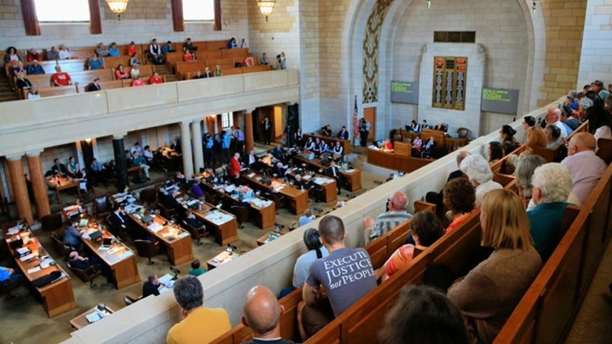 May 27, 2015: Nebraska lawmakers debate in Lincoln, Neb., whether to override a veto of a death penalty repeal bill.