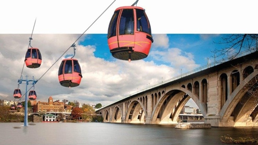 Shown here is a rendering of a proposed Georgetown-to-Rosslyn gondola system.