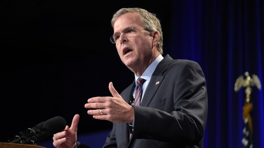 Former Florida Gov. Jeb Bush speaks at Rick Scott's Economic Growth Summit in Lake Buena Vista, Fla., Tuesday, June 2, 2015. (AP Photo/Phelan M. Ebenhack)