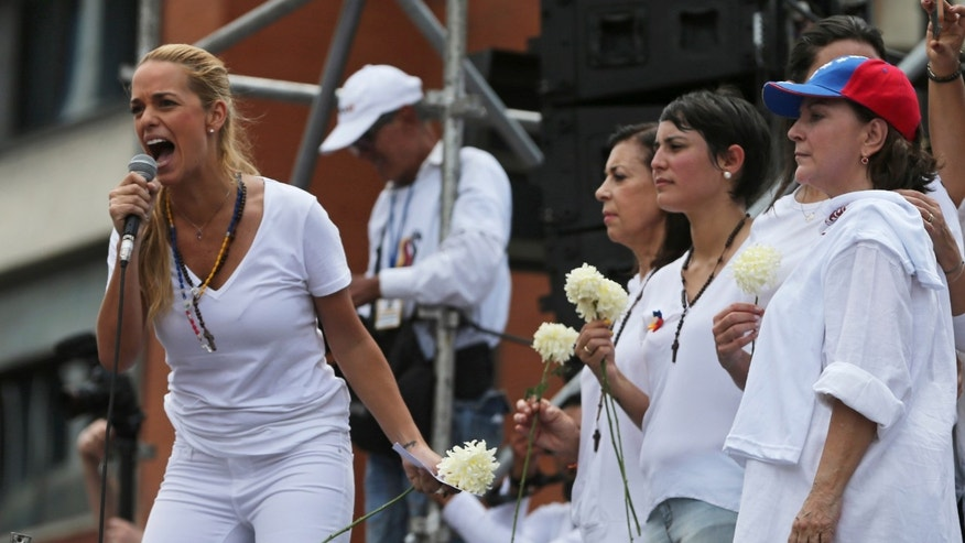 Lilian Tintori, wife of jailed opposition leader Leopoldo López, during a protest on May 30, 2015 in Caracas.