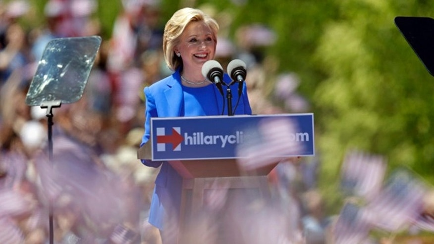 Democratic presidential candidate, former Secretary of State Hillary Rodham Clinton speaks to supporters Saturday, June 13, 2015, on Roosevelt Island in New York, in a speech promoted as her formal presidential campaign debut.  (AP Photo/Frank Franklin II)