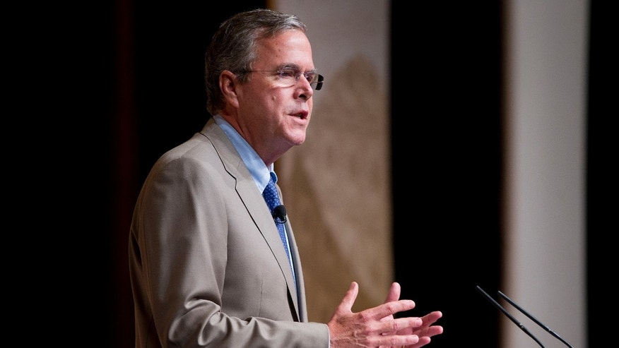Republican presidential candidate, former Florida Gov. Jeb. Bush speaks at the Road to Majority 2015 convention in Washington, Friday, June 19, 2015. Republican presidential contenders on Friday condemned the deadly shootings in South Carolina as an attack on faith, offering deeply personal responses to the murders but no suggestion that they see gun control as part of the answer. (AP Photo/Pablo Martinez Monsivais)