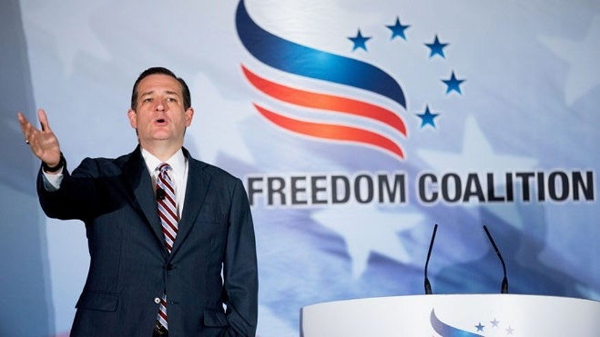 Republican presidential candidate, Sen. Ted Cruz, R-Texas, speaks during the Road to Majority 2015 convention in Washington, Thursday, June 18, 2015. (AP Photo/Andrew Harnik)