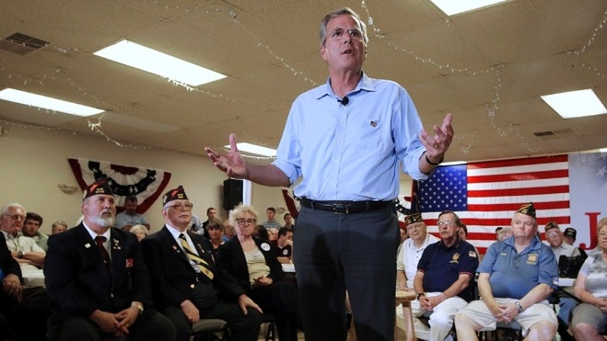 Republican presidential candidate former Florida Gov. Jeb Bush speaks during a town hall meeting Wednesday, July 8, 2015, in Hudson, N.H. (AP Photo/Jim Cole)