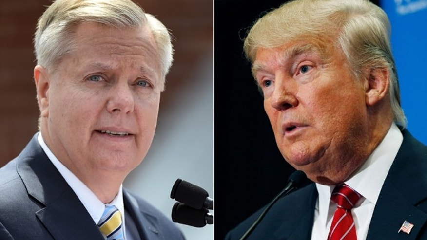 "In this combination made from file photos, Republican presidential candidate, U.S. Sen. Lindsey Graham, R-S.C., left, speaks in Central, S.C., and fellow Republican candidate, real estate mogul Donald Trump, speaks in Las Vegas. In response to Trump's recent derogatory comments about Mexican immigrants, Graham says his rival is a ""wrecking ball"" for the future of the GOP with Hispanic voters, and is calling on the party to push back. (AP Photo/Rainier Ehrhardt, John Locher, File)"